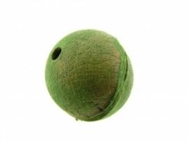 Lederen kraal 27 mm olijfgroen