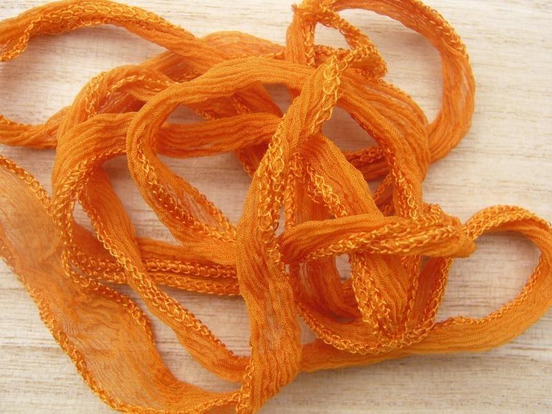 Zijde lint  roest-oranje,  100 mm breed