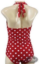 Aloha Beachwear, Vintage Pinup Bathing Suit Red Polkadot.