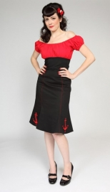 Mode Merr, Fitted Peasant Blouse in Red / Black in Large.