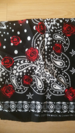 Bandana Black Paisley Red Rose.