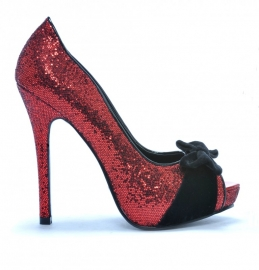 Bettie Page, Tempest Red Glitter Peeptoe.