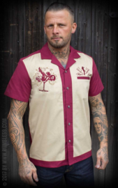 Rumble 59, Lounge Shirt Man's Ruin, Bordeaux/ Beige.