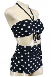 Aloha Beachwear, Bandeau Bikini Black Dots Vintage High Waist in Medium.