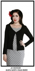 Collectif, Polkadot Cardigan in Black in xlarge.