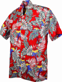 Karmakula, Parrots Red Cotton Hawaiien Shirt.