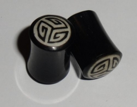 Stretcher Plug Horn  Inlay Tribal Small 8 mm.