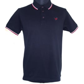 Warrior Clothing, Twin Tipped Polo, Black with White& Red Trim.