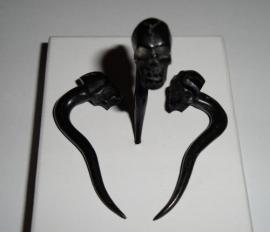 Stretcher Horn Black Skull 5 mm.