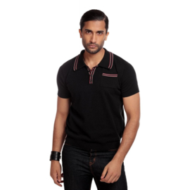Collectif, Pablo Plain Knitted Polo Shirt in Black in Medium.