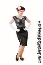 Love Kills, Black and White Polkadot Femme Fatale Top.