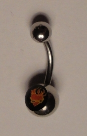 "Navel piercing ""Flaming Heart"""