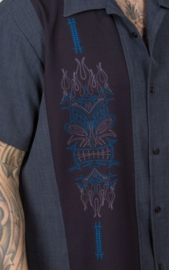 Steady Clothing, Pinstripe Tiki Panel Charcoal.