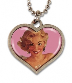Blonde Pinup Lucky Charm Necklace.