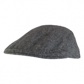 Light Grey Herringbone Flat Cap