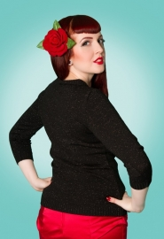 Miss Fortune, Peek a Boo Lurex Top in Black in xmsmall.