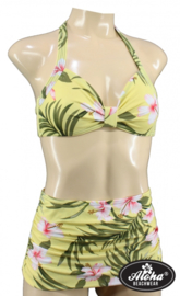 Aloha Beachwear, 50's Bikini Yellow Hawaiien Hibiscus in Small.