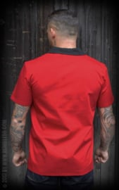 Rumble 59, Lounge Shirt Pinstripe Paradise Red in Small.