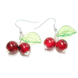 Bow and Crossbones, Kitsch Glass Cherry Earrings.
