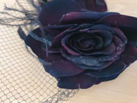 Burgundy Velvet Rose Fascinator.