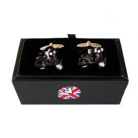 Warrior, Vespa Enamel Cuff Links Black.