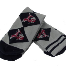Warrior, Twin Pack Vespa Red Argyle Socks.