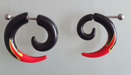 """Fake Acrylic Stretcher """"Spiral Flames Red"""""""