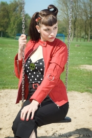 Suicide Glam, Ring Arms Jacket in Red in medium.