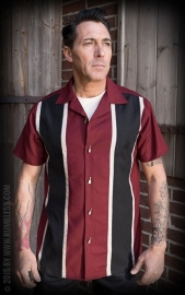 Rumble 59, Classic Shirt Two Stripes Red Wine in large.
