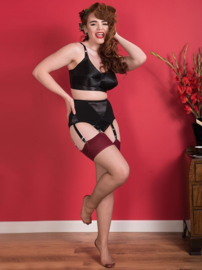 What Katie Did, Seamed Stockings Nutmeg/ Claret Glamour.