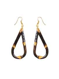 Collectif, Tiki Teardrop Bamboo Earrings.