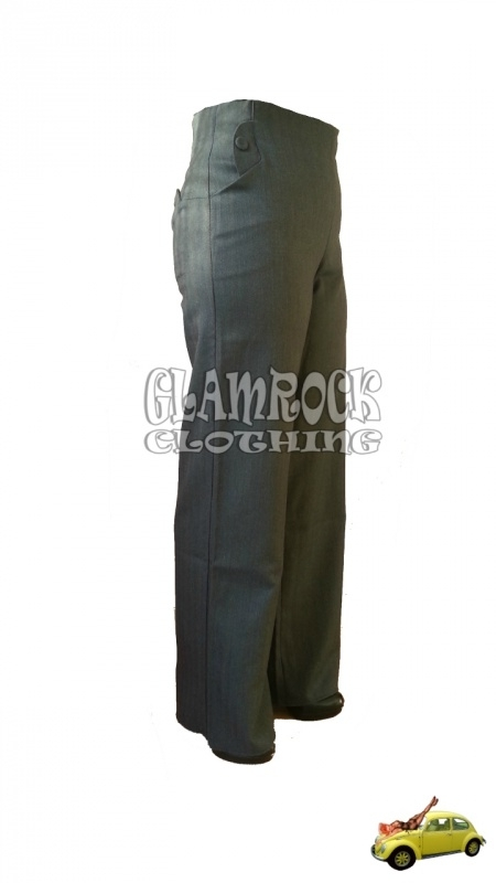 Miss Candyfloss, Saratoga High Waist Striped Pants in Black / Grey.