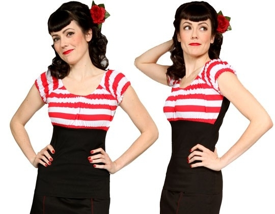Mode Merr, Fitted Peasant Blouse in Red / White Stripe.