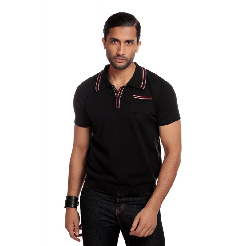 Collectif, Pablo Plain Knitted Polo Shirt in Black.