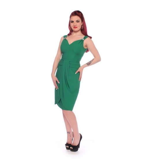 Glamour Bunny, Ruby Retro Wiggle Pinup Dress in Green.