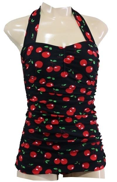 Aloha Beachwear, Vintage Pinup Bathingsuit Black Cherry.