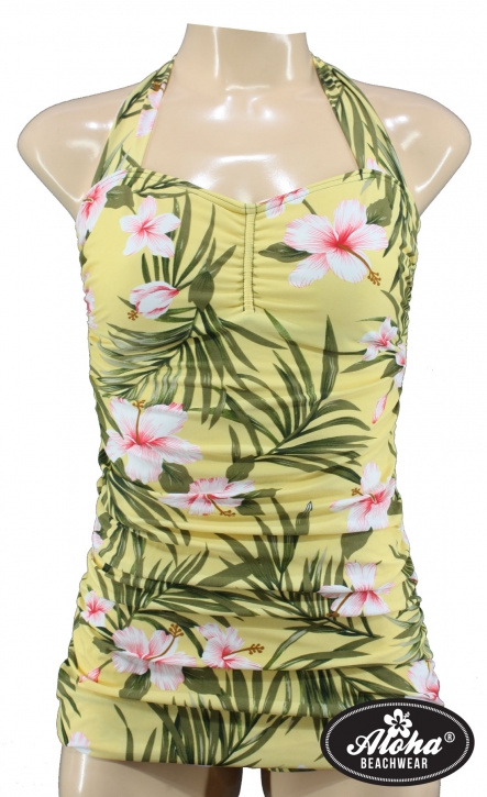 Aloha Beachwear, Vintage Pinup Badpak Yellow Hawaiien Hibiscus.