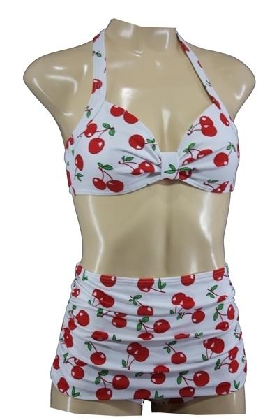 Aloha Beachwear, 50's Bikini in White Cherry.