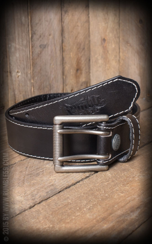 Rumble 59, Leather Belt with Double Buckle in Black