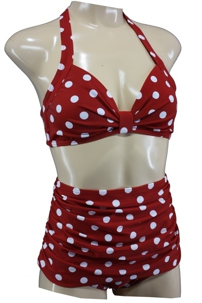 Aloha Beachwear, 50's Bikini Red Dots.