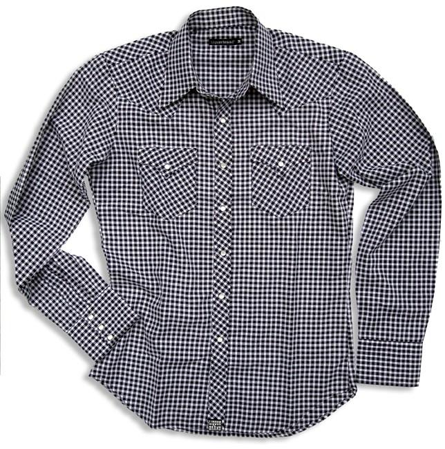 Westernshirt in black Tartan van Liquorbrand in small.