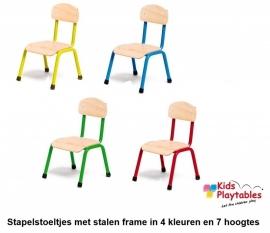 Blauwe Stapelbare kinder-stoel met stalen frame