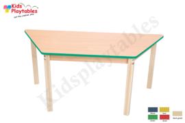 Trapezium tafel met beuken blad houten poten 67 x 72 x 138,5 cm in div hoogtes en kleuren