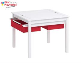 Vierkante Speeltafel met rode opbergbakken