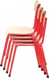 Rode Stapelbare kinder-stoel met stalen frame