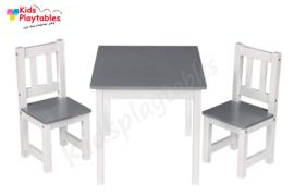 Kindertafel en stoeltjes van hout - 1 tafel en 2 stoelen voor kinderen - Wit/Grijs met hout - Kleurtafel / speeltafel / knutseltafel / tekentafel / zitgroep set / kinder speeltafel - kinderzetel - stoel kind