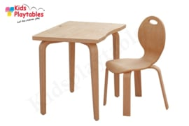 Set kindertafel met stoeltje 60 x 45 cm naturel gelakt met houten poten en beuken HPL tafelblad