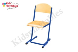 Blauwe Stapelbare Leerlingstoel met stalen poten U frame