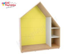 Kastenwand speelhuis met terugtrekruimte geel
