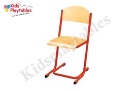 Rode Stapelbare Leerlingstoel met stalen poten U frame